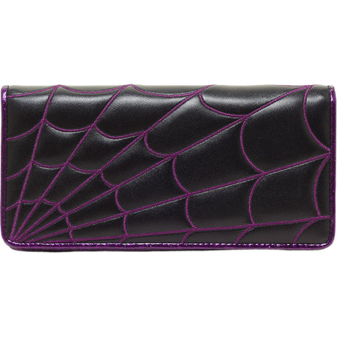 Women's Sourpuss Spiderweb Wallet Purple Goth Punk Psychobilly