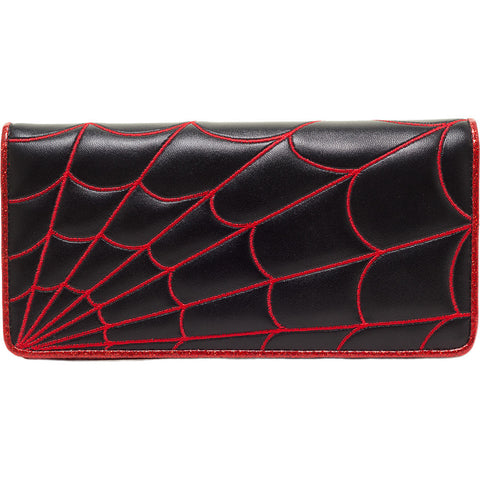 Women's Sourpuss Spiderweb Wallet Red Goth Punk Psychobilly