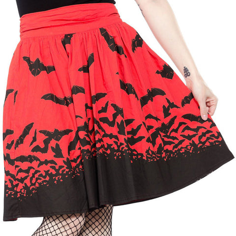 Women's Sourpuss Spooksville Bats Swing Skirt Red Rockabilly Psychobilly
