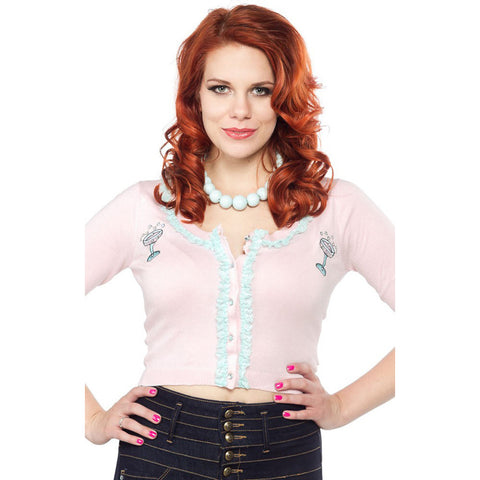 Women's Sourpuss Toast of the Town Bella Cardigan Pink Retro Rockabilly