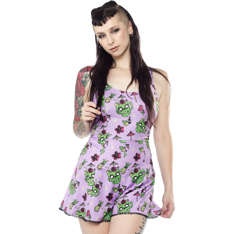 Sourpuss Zombie Drinks Playsuit Purple Retro Rockabilly Psychobilly