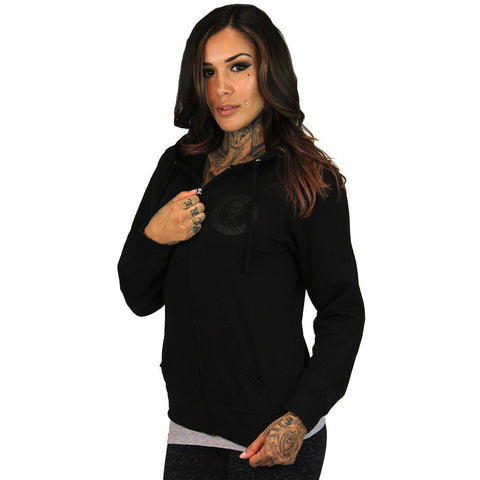 Women's Sullen Badge of Honor Hoodie Black Skull Logo Tattoo Lifestyle