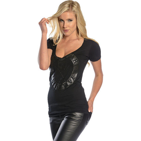 Women's Sullen Badge of Honor V-Neck T-Shirt Black