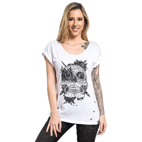 Women's Sullen Love Lace T-Shirt Shadow Wash Lace Skull Tattoo Art Lifestyle