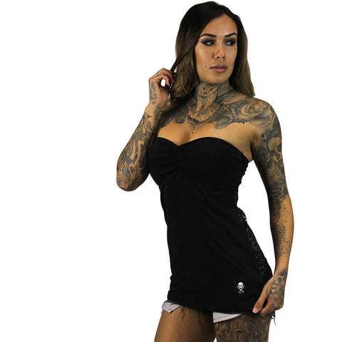Women's Sullen Standard Issue Tube Top Black Skull Logo Tattoo Lifestyle Brand