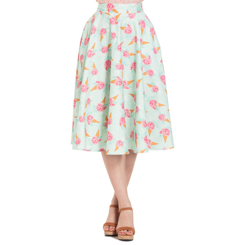 Voodoo Vixen AMY Floral Ice Cream Print Skirt Plus Size Green Retro Rockabilly