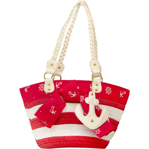 Voodoo Vixen Anchor And Wheel Wicker Bag Red Retro Vintage Rockabilly Nautical