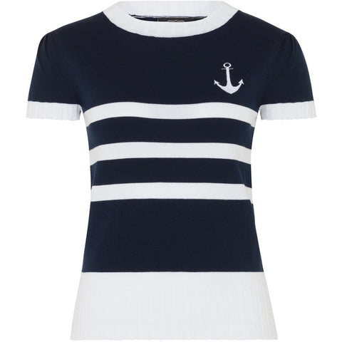 Women's Voodoo Vixen Anchor Strip Sweater Navy/White Nautical Rockabilly Pin Up