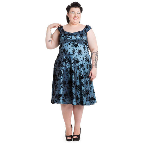 Women's Voodoo Vixen Bird Flocking Flair Plus Size Dress Blue Vintage Rockabilly