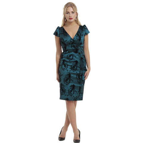 Voodoo Vixen Candy Ann Peacock Flocked Taffeta Pencil Dress Blue Vintage Retro