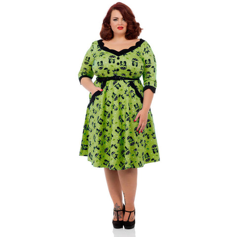 Voodoo Vixen Cats In The Rain Plus Size Flare Dress Green