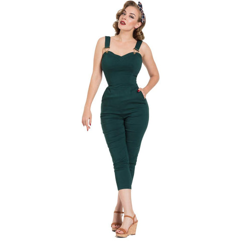 Women's Voodoo Vixen Connie Fitted Capri Overalls Green Retro Vintage Rockabilly