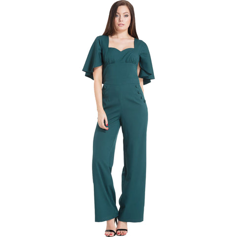 Women's Voodoo Vixen Esmeralda Cape Sleeve Jumpsuit Green Retro Rockabilly