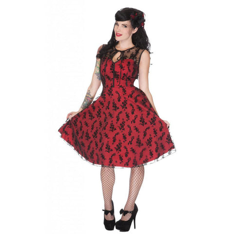 Women's Voodoo Vixen Floral Flocked Lace Overlay Flaired Dress Red Rockabilly