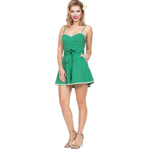 Women's Voodoo Vixen JAYNE Daisy Trimmed Playsuit Green