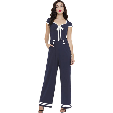 Women's Voodoo Vixen JOLENE Nautical Stripped Wide Leg Jumpsuit Navy