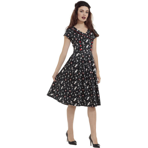 Voodoo Vixen Kat Clockwork Cat Flare Dress Black Rockabilly Vintage Retro