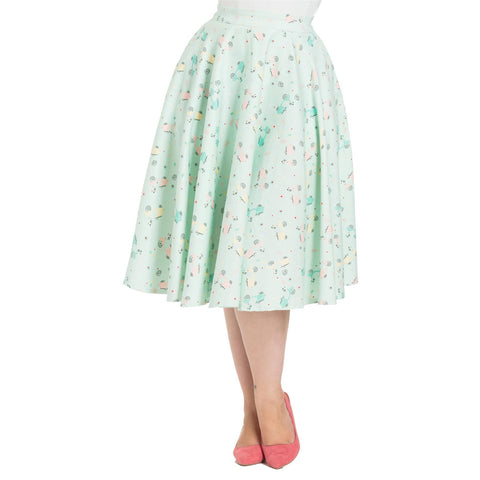 Voodoo Vixen LILLY Retro Scooter Print Swing Skirt Plus Size Green Retro