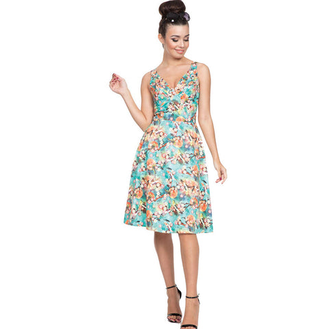Voodoo Vixen LIZABETH Tropical Bird Print Flare Dress Green