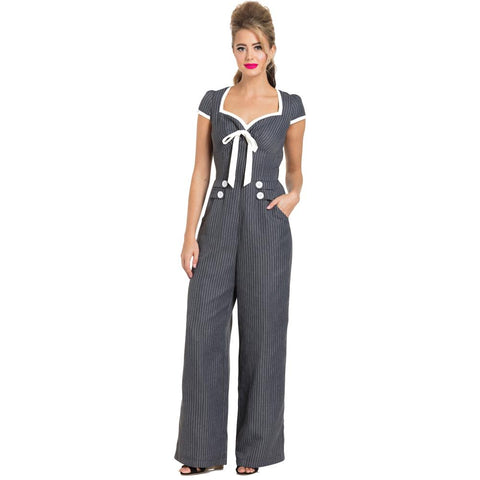 Women's Voodoo Vixen Leanne Striped Jumpsuit Grey Retro Vintage