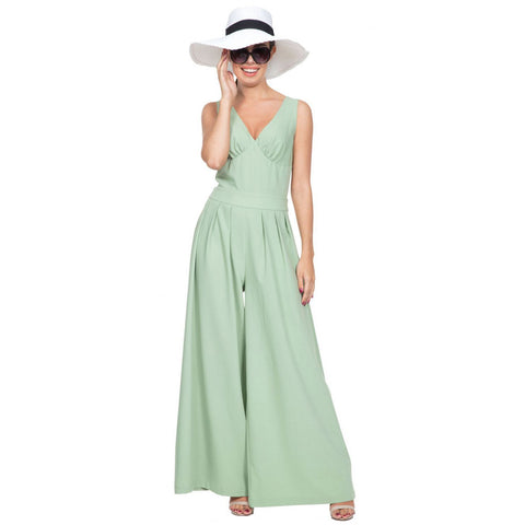 Women's Voodoo Vixen MANDY Pleated Jumpsuit Green