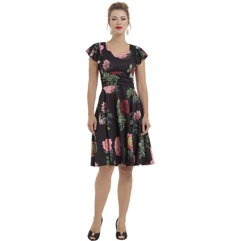 Voodoo Vixen Mabel Large Vintage Floral Flare Dress Rockabilly Vintage Retro