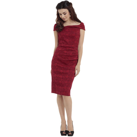 Voodoo Vixen Maisie Lace Overlay Super Stretch Pencil Dress Red Vintage Retro