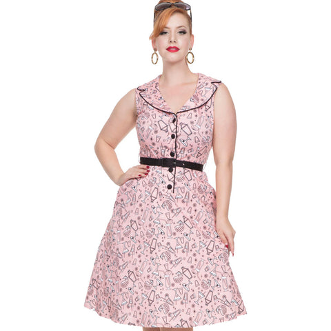 Voodoo Vixen Maybelle Cocktail Print Dress Pink Rockabilly Pin Up Retro Vintage