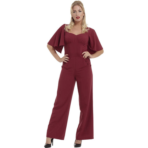 Women's Voodoo Vixen ZOEY Cape Sleeve Jumpsuit Burgundy