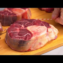Load and play video in Gallery viewer, Halal Grass Fed Angus Bone-In Shank Osso Buccu 2 pack (4 steaks) ~ 5 lb