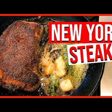 Load and play video in Gallery viewer, Halal Grass Fed Angus New York Strip Steak 2 Steaks ~ 1.5 lb