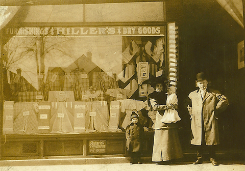 W.J. Hiller and family in front of the original store circa 1904.