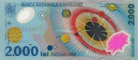 Romanian 2000 Lei banknote with total solar eclipse.