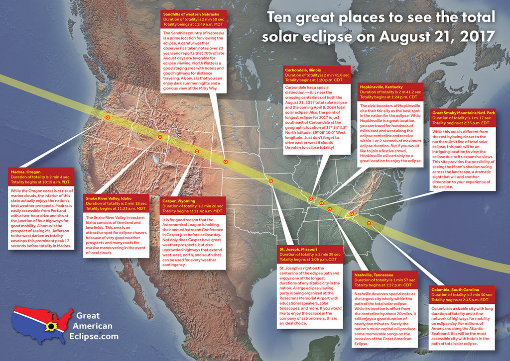 Path of the Great American Eclipse of August 21, 2017.