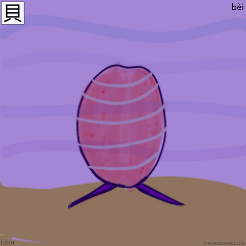 Chinese bei character compared to the mole cowrie shell