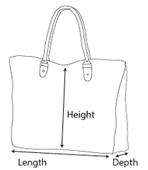 black and white illustration of how to measure a handbag