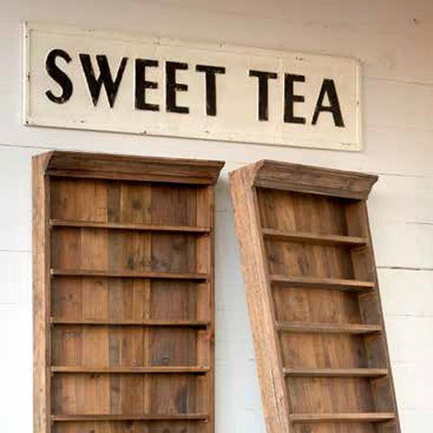 antique cream and black sweet tea sign