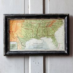 black framed textbook map of the south