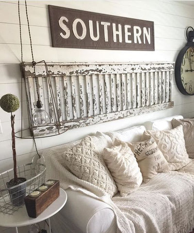metal southern sign in living room setting