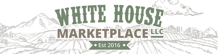 logo of gray line mountain farmland imagery with white house marketplace text overlay