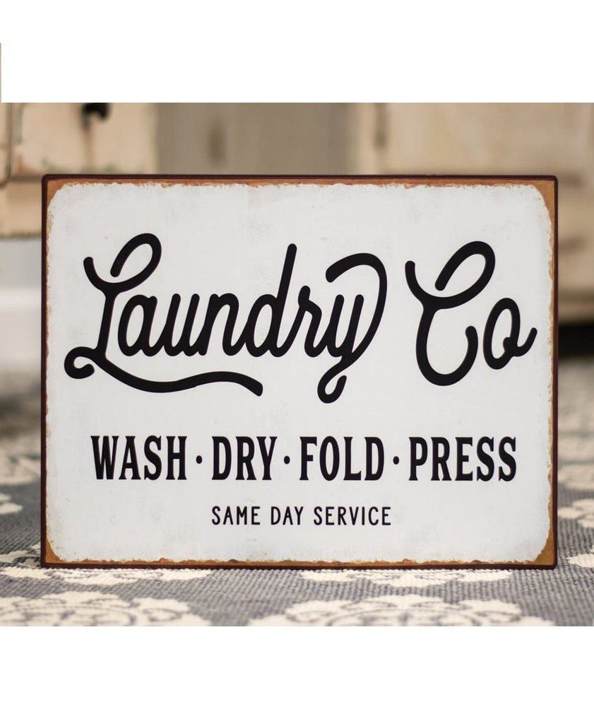 laundry co metal sign wash dry fold press
