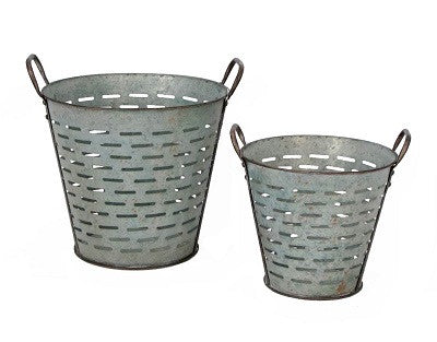 set of 2 galvanized olive baskets