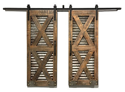 Moonlight Stables Pair Sliding Barn Doors Corrugated Metal And Wood