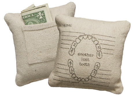 burlap lost tooth tooth fairy pillow with teeth image