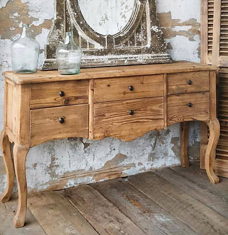 aged fresh pine sideboard buffet with turned legs