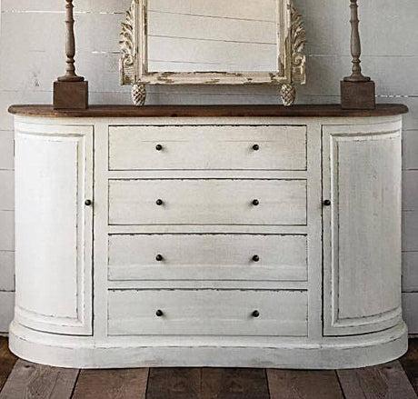 creamy white painted bow-fronted sideboard with stained wooden top