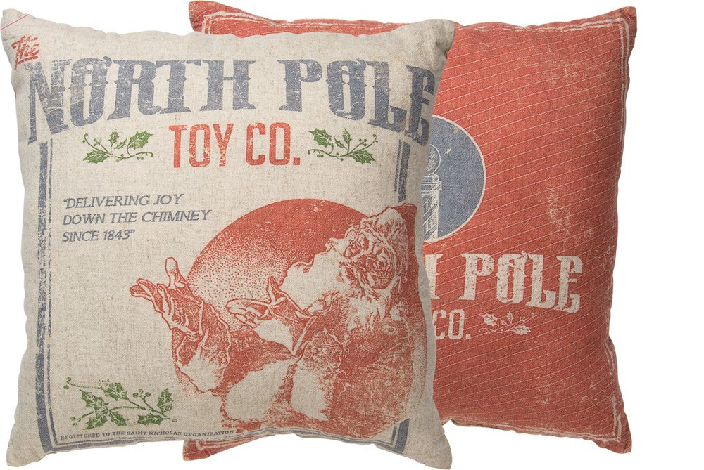 NORTH POLE TOY COMPANY CHRISTMAS PILLOW