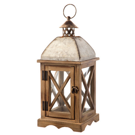 rustic barn wood lantern with galvanized metal top