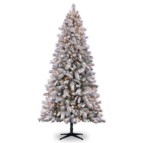 7 5 Ft Flocked White Vermont Pine Artificial Christmas Tree Pre Lit Clear Lights