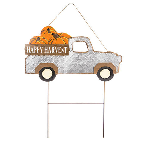 yard sign or stake metal vintage happy harvest truck with pumpkins